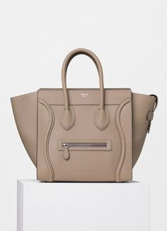 Mini Luggage Handbag in Dune Drummed Calfskin - Céline