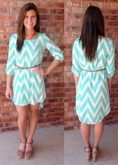 Mint High-Low Chevron Dress - Small $40
