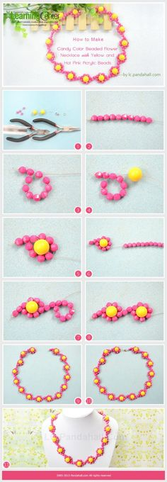 How to Make Candy Color Beaded Flower Necklace with Yellow and Hot Pink Acrylic Beads by wanting Necklace Tutorial, Diy Necklace, Necklace Designs, Flower Necklace, Beaded Jewelry Patterns, Bracelet Patterns, Bead Jewellery, Jewelery, Beaded Rings