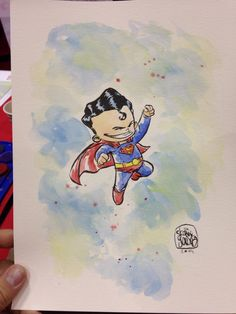 Little superman watercolor #megscon2014-skottie young