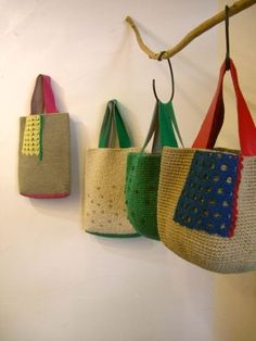 Knit Bag, Knitted Bags, Diy Crochet Bag, Knit Crochet, Knit Basket, Patchwork Bags, Handmade Bags, Leather Bag, Diy And Crafts