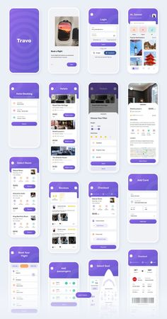 Travo Apps - UI KIT for Travel Flight and Hotel #uikit #appdesign #uidesign Web Design Mobile, Mobile Application Design, App Ui Design, Interface Design, Flat Design, Best App Design, Interface App, Design Design, Ui Kit