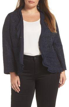 c2e94c7f18e Vince Camuto Indigo Tweed Ruffle Jacket (Plus Size)