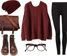 Burgundy sweater with matching slouchy beanie, black leggings, and combat boots.