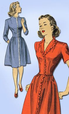 1940s Vintage Du Barry Sewing Pattern 5950 Easy WWII Misses Dress Size 12 30 B