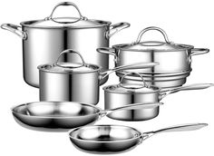 Cooks Standard Multi-Ply Clad Stainless-Steel Cookware Set by Cooks Standard at the Bakeware - The Allergy Blues Kitchen Cookware Sets, Lava, Pots And Pans Sets, Thing 1, Pan Set, Brushed Stainless Steel, Bakeware, Kitchen Dining, Ideas