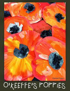 Georgia O'Keeffe's Poppies – Painted Paper Art First Grade Art, 2nd Grade Art, Remembrance Day Art, Unicorn Diy, Georgia O'keeffe, Ecole Art, School Art Projects, Spring Art Projects, Spring Crafts