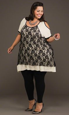 Lace Cold Shoulder Top & Leggings / MiB Plus Size Fashion for Women / Fall Fashion http://www.makingitbig.com/product/4975