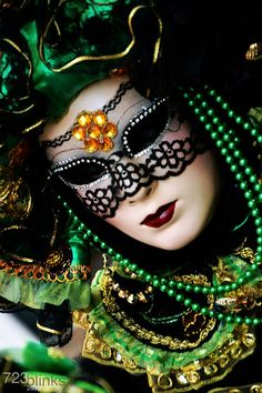 "- White with Black Lace Eye Mask with Green Beaded Necklace ~ "" Emerald """