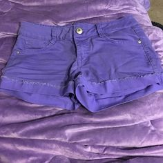 LEI Purple Shorts LEI purple low rise shorts. Size 3. Good condition! lei Shorts Jean Shorts