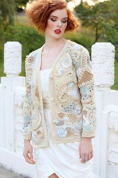 Freeform Crochet Bolero Shrug Cardigan in Beige White and Soft Blue. $200.00, via Etsy.