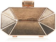 Halston Heritage Octagonal Minaudiere Ombre Evening Bag Black/Gold �