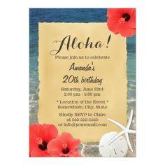 ハワイの花及びヒトデのビーチのテーマのパーティ 12.7 X 17.8 インビテーションカード