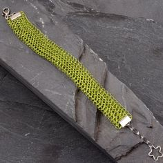 Chartreuse Bracelet - Wire Crochet Cuff Bracelet - Lacy Crochet Wristband Bridesmaid Gift