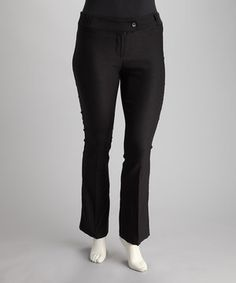 d64dd8f6cb919 Love this Black Tab-Front Bootcut Pants by Poplooks on  zulily!   zulilyfinds. Plus Size PantsBlack ButtonSlacksPlus Size  FashionSophisticated ...