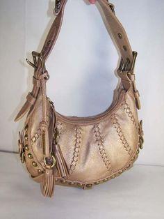 Metallic Pebbled Leather ISABELLA FIORE Studded Tassel Hobo Handbag EXCLNT!   eBay