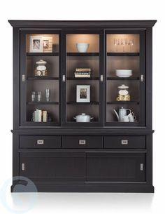 De Groot wonen Buffetkast Madisonate, 5 schuifdeuren + 3 laden, 190 breed, kleur zwart (binnenkant vitrine-deel taupe).