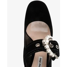 Miu Miu Black Velvet Crystal Buckle 90 Mary Jane Heels (€745) ❤ liked on Polyvore featuring shoes, mary jane shoes, mary-jane shoes, block-heel shoes, black strappy shoes and high heel shoes