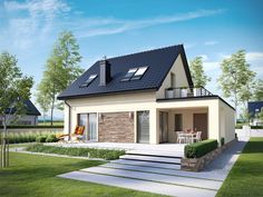 II ECONOMIC is a house that proves that modest form of simple and cheap to implement a gable. Attic House Design, House Roof Design, Village House Design, Contener House, Small Modern House Plans, Philippine Houses, Modern Bungalow House, Prefabricated Houses, Design Case