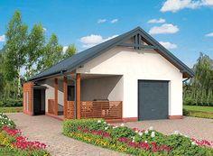 projekt G285 garaż jednostanowiskowy z pomieszczeniem gospodarczym i werandą SLN1563
