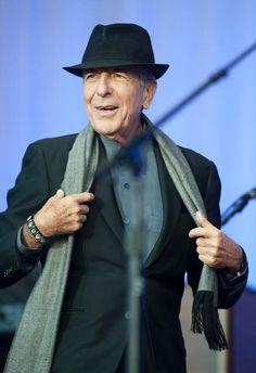 """oldideasworldtour:    Leonard Cohen performing in concert in Halden, Norway on August 29, 2012. From """"Leonard Cohen,""""Halden Arbeiderblad (Norway), August 29, 2012. Photo by Stein Johnsen."""