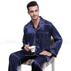 Mens Silk Pajamas, Satin Pajamas, Mens Sleepwear, Sleepwear Sets, Satin Pyjama Set, Pajama Set, Men's Fashion, Fashion Design, Loungewear Outfits