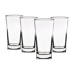 Home Essentials Red Series 16 Oz. Square Highball Glasses Cups, Set of 4 *** You can get more details by clicking on the image.