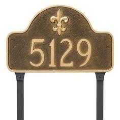 Montague Metal Products Fleur de Lis Lexington Arch Standard One Line Address Sign Plaque Finish: Black/Gold