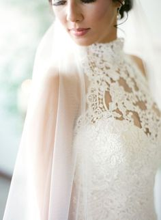 High neck lace wedding dress perfection: Photography: Brandi Smyth - http://brandismyth.com/: