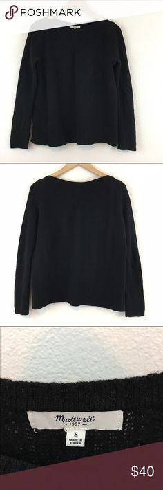 "Madewell black merino wool ribbed sweater Madewell boatneck 100% merino wool ribbed sweater. Boxy cut, a great basic! Light pilling but overall very good condition. Measures approx 21"" armpit to armpit, 23"" from top of shoulder to bottom hem. Last photo to show fit only. Madewell Sweaters"