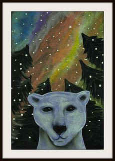 1st and 2nd graders made these mixed media polar bear portraits with northern lights