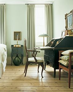 With a baroque feel, this bedroom lends itself to waking up early to read til late in the afternoon. Green Walls, Sage Green Curtains, Green Bedrooms, Bedroom Green, Sage Bedroom, Bedroom Wall, Bed Room, Master Bedroom, Bedroom Decor