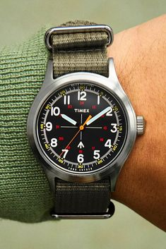 The Military Watch by Timex + Todd Snyder Army Watches, Cool Watches, Watches For Men, Unique Watches, Wrist Watches, Elegant Watches, Beautiful Watches, Timex Military Watch, Todd Snyder Timex