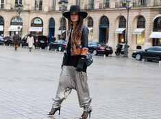 glam, boho, tribal, silver, jacket, pants, harem pants, shoes, laser cut heels, hat, black, why not