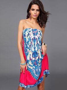 Multicolore imprimé géométrique sans bretelles Stretch robe d'été pour femmes - Milanoo.com