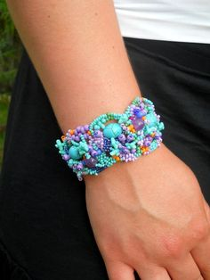 Freeform peyote cuff  bracelet - turquoise blue green and purple -   Great colors!