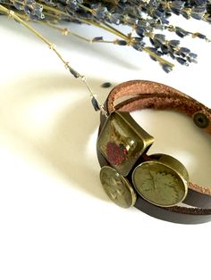 Leather bracelet with real Wild strawberry, plants and flowers beads! Handmade by Agnera
