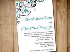 "Printable Wedding Invitation Template Download - Teal Green Black Invitation Blooming Vines ""Finola""   Downloadable Wedding Invitation by PaintTheDayDesigns"