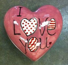 "hand-painted heart box ""i love you"". #pottery"