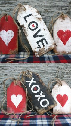 Large Rustic Wood Valentines Tags #love #valentinesday #heart #tags #wood #doordecor #farmhouse #rustic