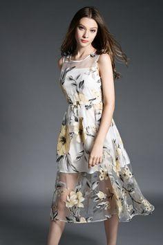 ワンピース・ドレス - エレガントな花柄模様透けるオーガンジー素材ノースリーブ美脚セクシーに魅せワンピース★