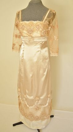 Edwardian Wedding Dress, Wedding Gown Luxurious Satin and Lace