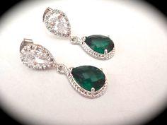Emerald earrings  Sterling Silver  Czech by QueenMeJewelryLLC