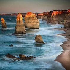 Amazing #sunset shot over the Great Ocean Road Australia [ @trendygirltravz]  #Australia #greatoceanroad #roadtrip #travel #downunder #vacation #holiday #oz sea #ocean #rock #coast #coastline #shore #waves #beach #orange #blue by jenniferjaffa