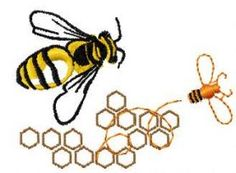 Bee and honey free embroidery design. Machine embroidery design. www.embroideres.com