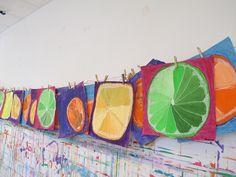 Summer, Thus Far. // Summer Recap - Kids Art Classes, Camps, Parties and Events - Small Hands Big Art 3rd Grade Art Lesson, 6th Grade Art, Classe D'art, Value In Art, Ecole Art, School Art Projects, Art Lessons Elementary, Fruit Art, Elements Of Art