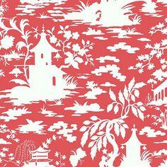 Asian Scenic Toile Wallpaper Salmon Pink/White Double Roll - traditional - Wallpaper - Ballard Designs