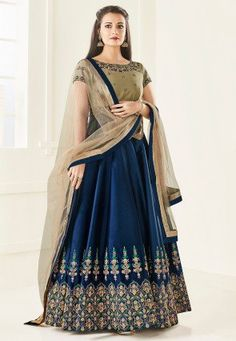 Embroidered Taffeta Silk Abaya Style Suit in Navy Blue