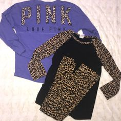Shop Women's PINK Victoria's Secret Black Brown size S Tees - Long Sleeve at a discounted price at Poshmark. Description: VS PINK Tees with matching VS legging; purple long sleeve tee is an XS and has a small not very noticeable stain on the front; S black tee with quarter length cheetah sleeves is in great condition NO holes or stains; VS leggings size S are also in great condition no stains or holes. Sold by toriiiiiii06. Fast delivery, full service customer support.
