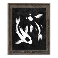 Click Wall Art Yin-Yang Koi Framed Painting Print on Canvas in Black